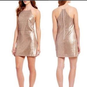 NWT Halston Heritage Gold Halter Mini Dress 8